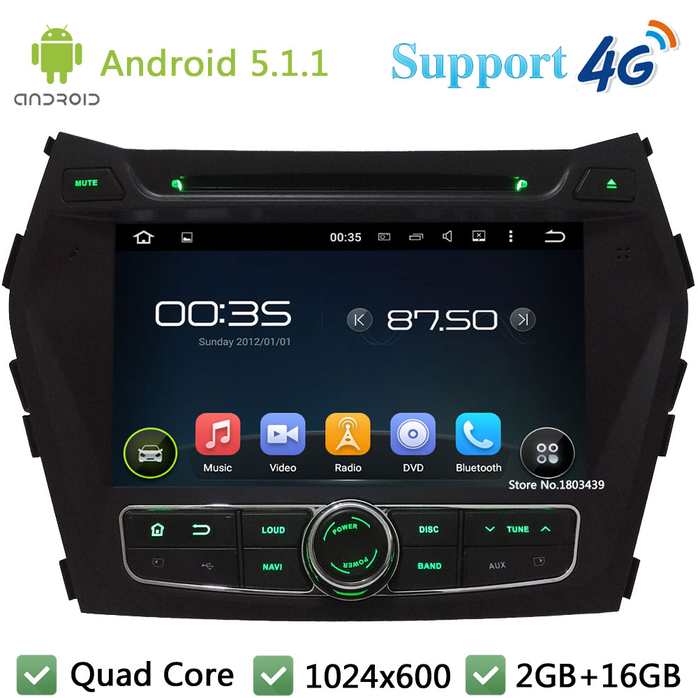 Quad Core 8″ 1024*600 Android 5.1.1 Car DVD Player Radio PC USB FM DAB+ 3G/4G WIFI GPS Map For Hyundai IX45 Santa FE 2013-2015