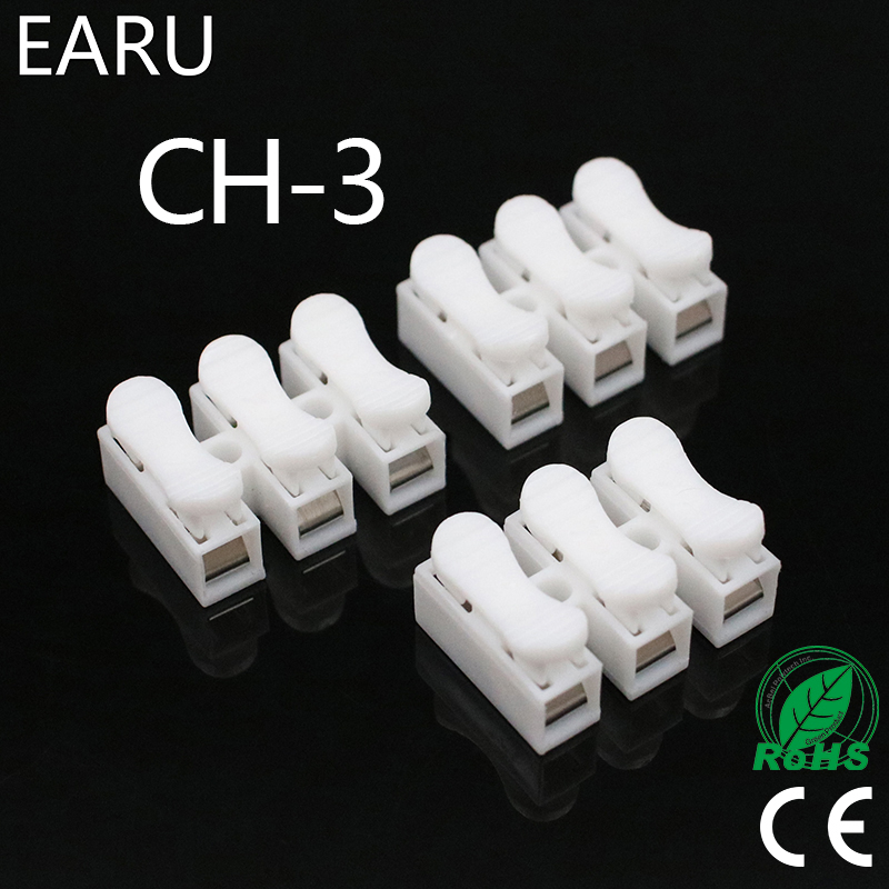 100pcs/lot 3p CH-3 G7 Spring Wire Quick Connector Splice With No Welding No Screws Cable Clamp Terminal 3 Way Easy Fit Led Strip
