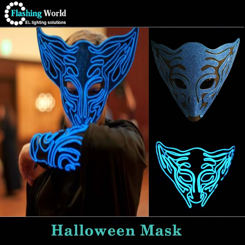 Blue Color Cool EL Wire Light Face Mask For Party EL Wire LED Light ...