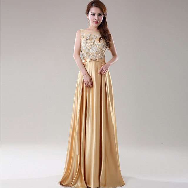 Beautiful Gold Wedding Dresses: Vestidos Elegante Woman O Neck Long Special Occasion A