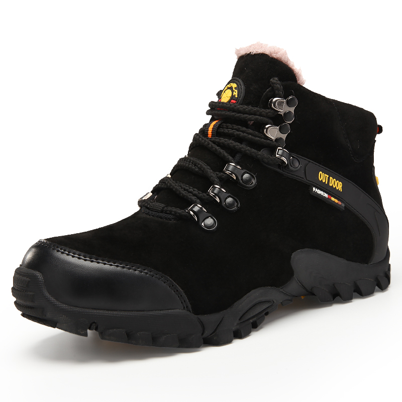 2017 Winter Mountain Men Boots Fur Warm Trail Hiking Shoes for Men Thermal Climbing Sneakers Rubber Leather Outdoor Trainers 2017 autumn winter mens hiking trainers rubber outdoor men shoes lace up outdoor man sneakers wearable high mountain boots