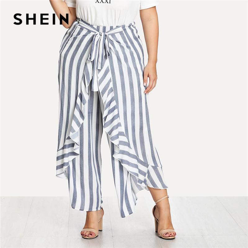 SHEIN Auto Cravate Ruche Garniture Rayé Palazzo Pantalon 2018 D'été à volants Noeud Bleu Pantalon Femmes Plus Taille Vacances Large Jambe pantalon