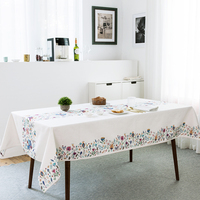 Cotton and linen tablecloth dining table covers thick dressing flower tea table desk cloth home kitchen banquet party decoration