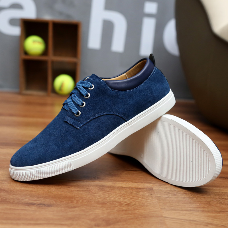 Spring/Autumn 2019 New Men Shoes Fashion Sneakers Casual Luxury Shoes Men Cow Suede Lace-up Low-cut High Quality Plus Size 38-49