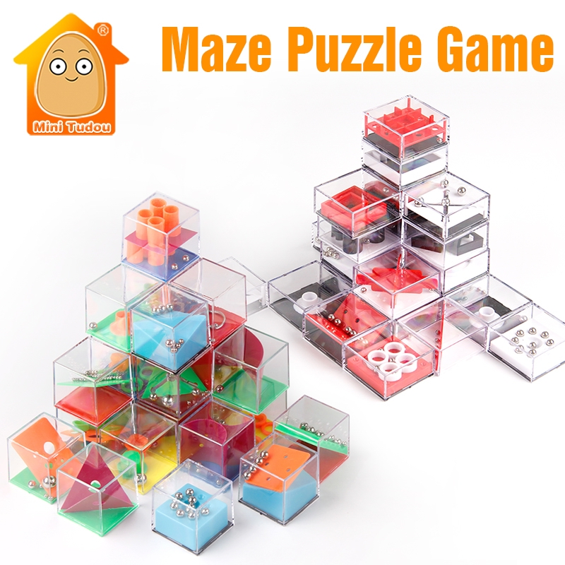 Kids Educational Toys 3D Puzzle Maze With Beads IQ Game For Adults Cube Cognition Puzzle Box Enfant Learning Toy Hand Games