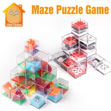 Kids Educational Toys 3D Puzzle Maze With Beads IQ Game For Adults Cube Cognition Puzzle Box Enfant Learning Toy Hand Games(China)