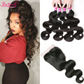 Brazilian Virgin Hair With Closure 7A Brazilian Body Wave 4 Bundles With Closure Soft Human Hair Weave Bundles With Closure