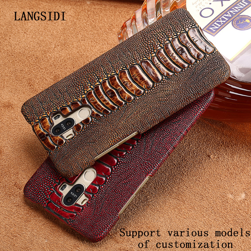 LANGSIDI Case For MOTO X4 case Genuine Leather Back Cover Luxury Ostrich Foot Skin Texture Top Layer Cowhide Cover