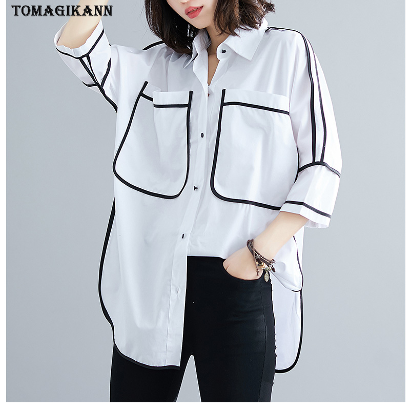 BF Black Line Patchwork Blouses Woman 2019 Autumn Pockets Plus Size 3/4 Sleeve Women's Shirts Tops Oversized