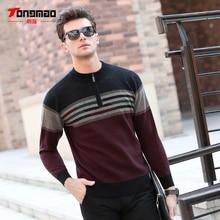 100% wolle Herren Pullover Herbst Winter Warm Zipper O-ansatz Slim Fit Männer Pullover Mode Gestreiften Einfarbig Pullover Männer Strickwaren