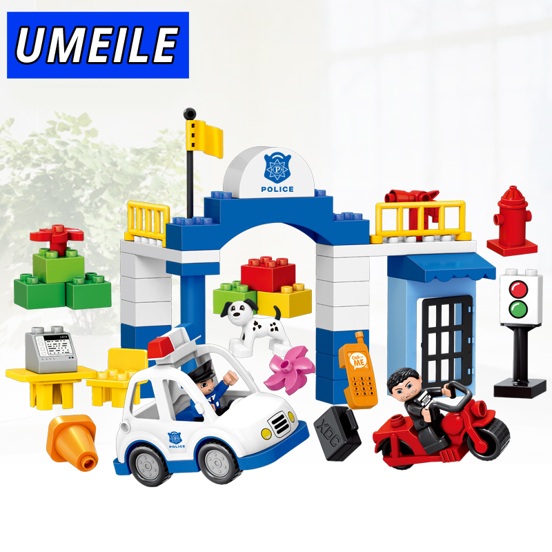 UMEILE Brand 51PCS Original City Policeman Thief Car Dog Educational Baby Toys Brick Set Compatible with Duplo Christmas Gift umeile original classic city engineering ladder truck fire engine model car block kids educational toys compatible with duplo