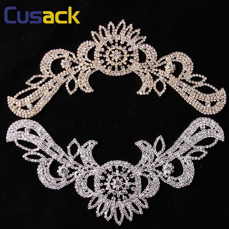 Flügel Kristall Strass Applique für Brautkleider annähen 39,8 cm * 12 cm Silber Gold DIY Handwerk Cusack