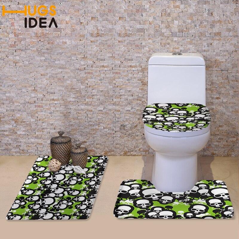 HUGSIDEA Skull Prints 3pcs/set Fashion Bathroom Toilet Seat Cover Non slip Soft Warmer Toilet Accessories Washable Toilet Mat