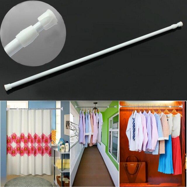 Adjutable 40 70cm Extendable Telescopic Shower Curtain Rod White Spring Tension Bath Curtains Pole Bathroom Diy