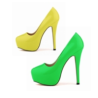 Hot Sale Fashion Thin Heels Round Toe Mature Pumps Female Patent Leather Women Platform High Heel Shoes Red Yellow NX A0001