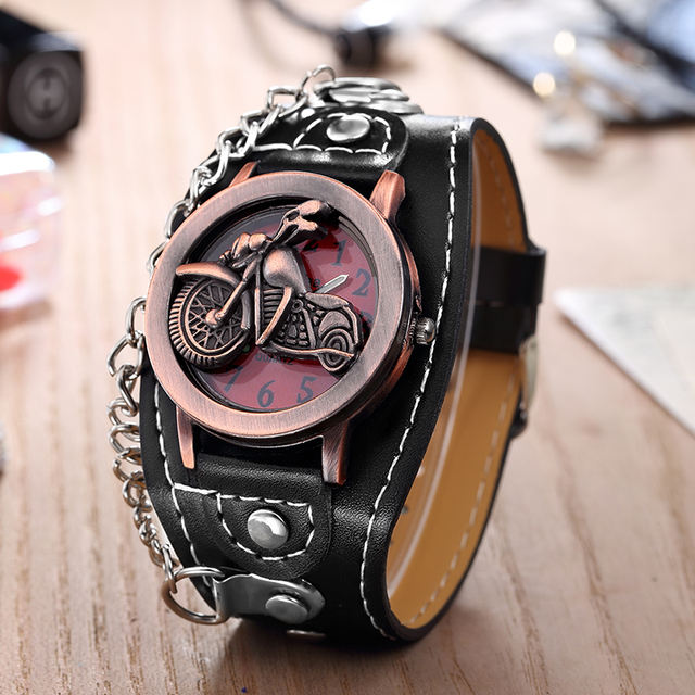 MOTORCYCLE LEATHER WRISTWATCHES (2 VARIAN)