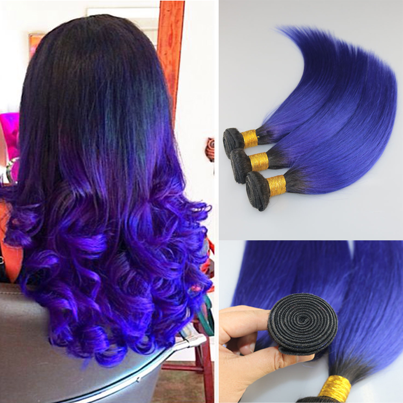 7a Brazilian Ombre Straight Blue Purple Hair Extensions 1bblue