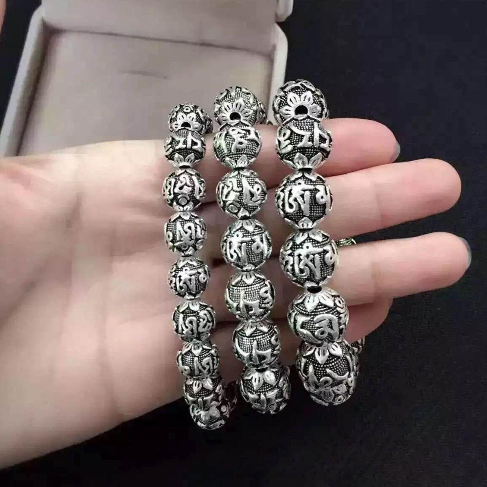 Real Solid 990 Silver Buddhist Bracelet Mens Mantra Beads Carved Six Words Om Mani Padme Hum For Tibetan Prayer Elastic Rope