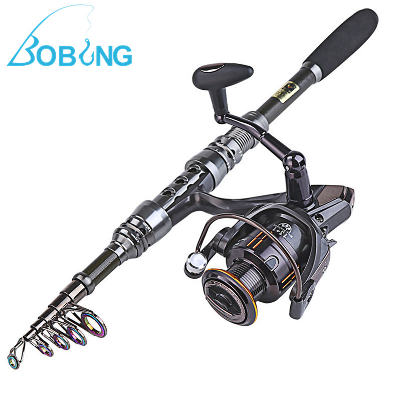 Bobing Telescopic Fishing Rod&Reel Combo Travel Kit Carbon Bass Tackle Sea Boat Fishing Spinning Tool Gears Set Accessories 2 1m fishing rod reel kit telescopic spinning rods portable mini pen fish rod telescope spin fishing pole rod reel combo tackle