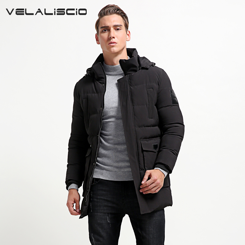 VELALISCIO Men's Winter Long Hooded Bio Down Jackets Parkas Men Casual Thermal Thick Solid Outwear Parkas Coats Male 6XL casual 2016 winter jacket for boys warm jackets coats outerwears thick hooded down cotton jackets for children boy winter parkas