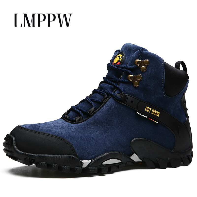 New 2018 Autumn Winter Men's Winter Boots Waterproof Outdoor Snow Boots Warm Fur&Plush High Top Cow Suede Leather Men Shoes Blue surprise primary 2 test book