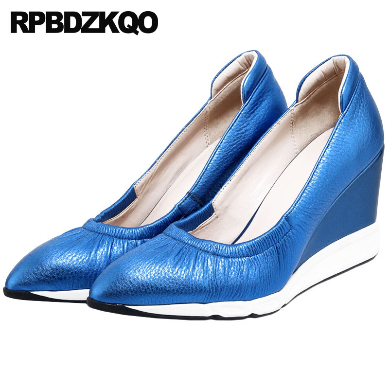 2018 Handmade Genuine Leather Women Shoes High Heels Ladies Blue Evening Pumps Wedge Size 4 34 China Prom Pointed Toe Famous 2018 handmade genuine leather women shoes high heels ladies blue evening pumps wedge size 4 34 china prom pointed toe famous
