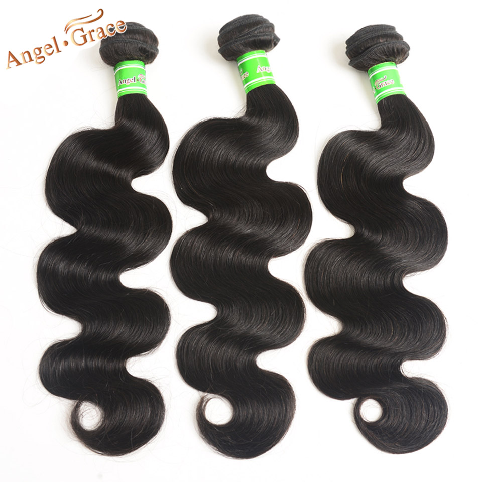 Brazilian Body Wave Bundles 1/3/4 pc lot 100% Human Hair Bundles - Menneskehår (sort)