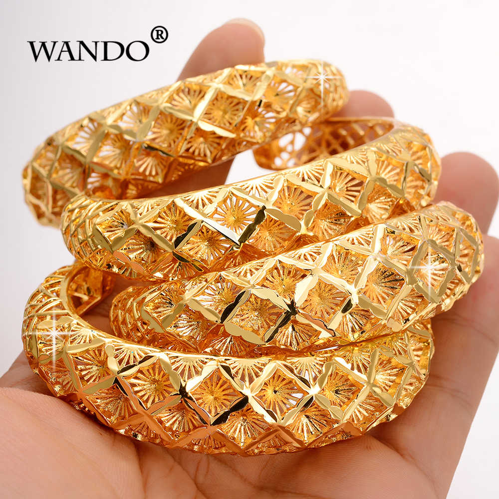 Wando 4pcs Ethiopian Pattern Gold color bangles for women Snow Dubai France Spain bride wedding bracelet Arab middle east