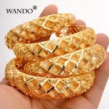 Wando 4 قطعة الاثيوبية نمط الذهب اللون أساور للنساء الثلوج دبي فرنسا إسبانيا العروس سوار الزفاف العربية الشرق الأوسط