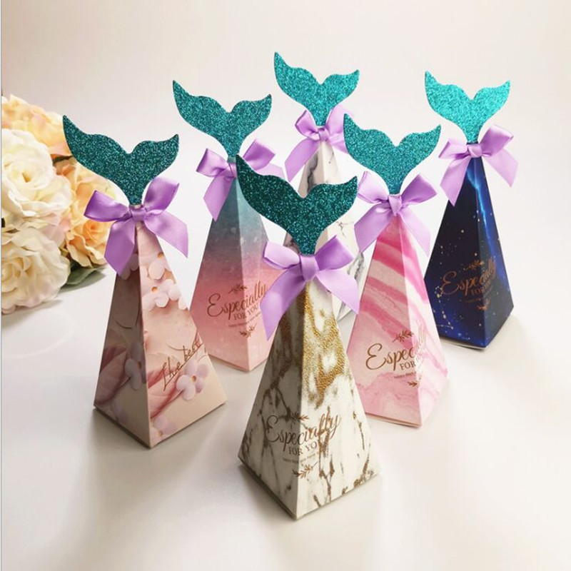 feiluan 100pcs new beautiful color 6x6x18 5cm Mermaid box European wedding creative candybaby birthday party box in Gift Bags Wrapping Supplies from Home Garden