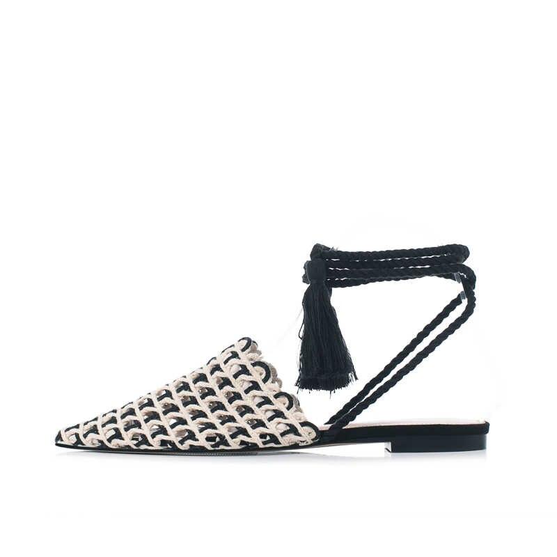 KATELVADI/женские тапочки; модные туфли с острым носком из хлопчатобумажной ткани; клетчатые шлепанцы; обувь на плоской подошве с перекрестной шнуровкой; K-386