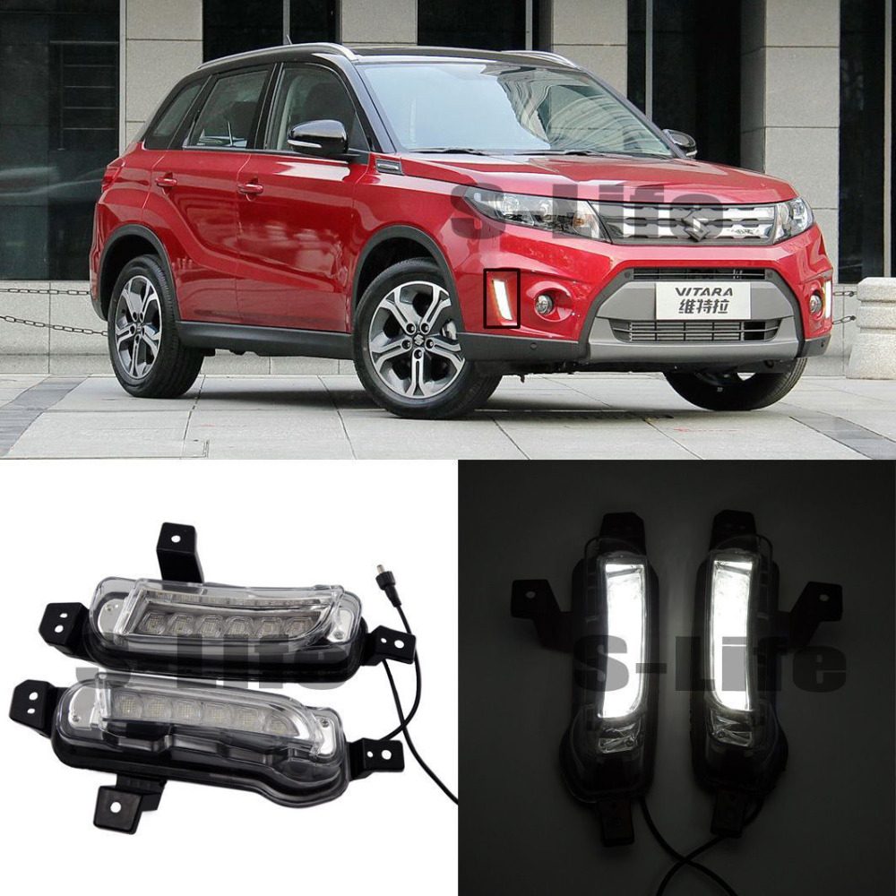 For Suzuki Grand Vitara Auto Front White DRL Daytime Running Lights Lamps 2015-2016 auto engine power steering pump 49100 65j00 4910065j00 55113201 for suzuki grand vitara ii jt 2 0