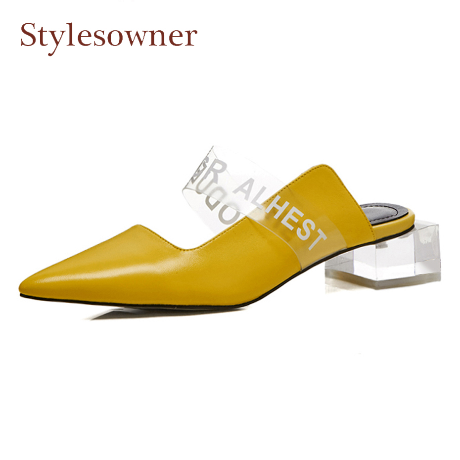 Stylesowner yellow genuine leather summer slippers women sandal clear  crystal middle heel pointed toe mules shoes runway shoes - aliexpress.com -  imall.com 14e7fd90a5fd