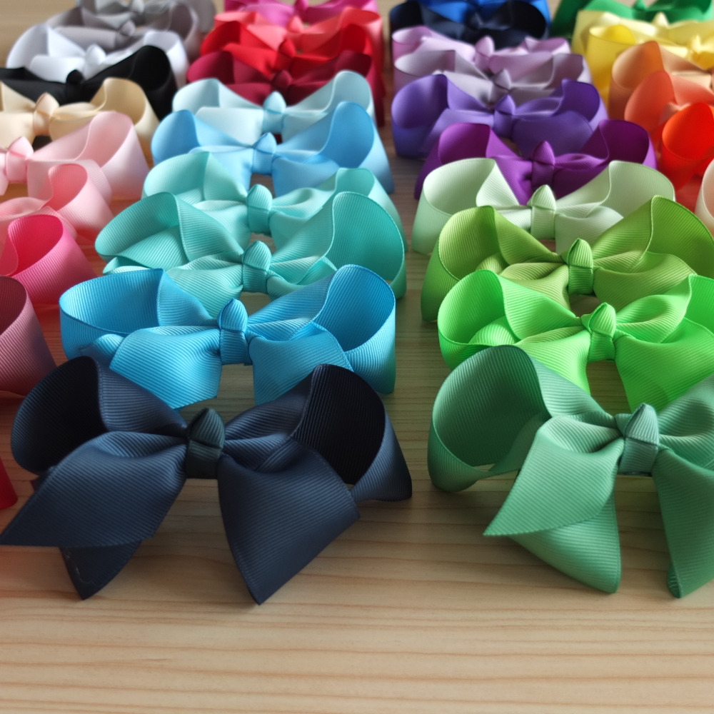 "40 Colors Available 4"" Hair bow WITH Clips Baby Toddler Teen Girl hair accessories Headwear Hairpins Hair clip School Hair bow"
