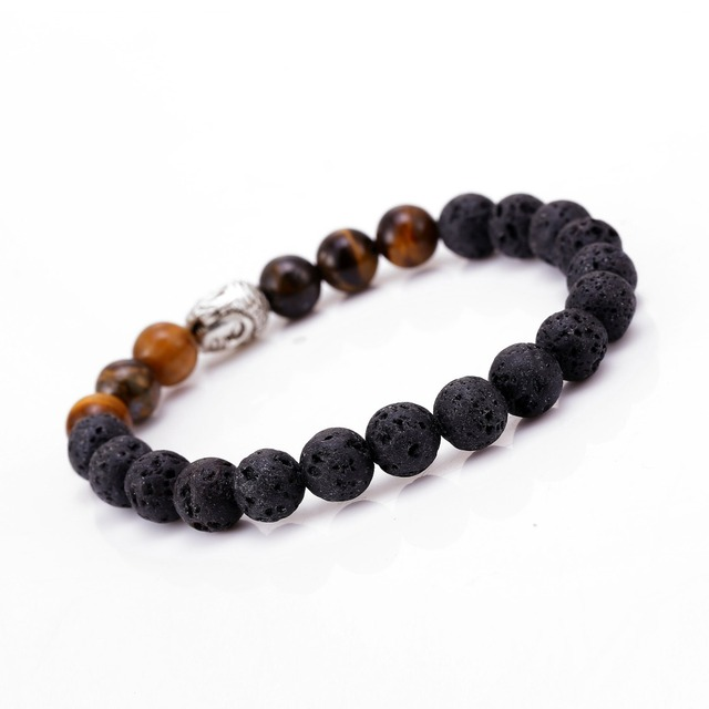 03285883efd7 Mens pulseras negro lava Buda pulsera para hombres mujeres pulsera de  piedra natural regalo religión pulseras