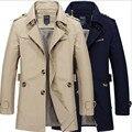 2016 Mens trench coat roupas casuais novo inverno longo homens jaqueta de algodão lavado casacos grandes estaleiros blusão jaqueta