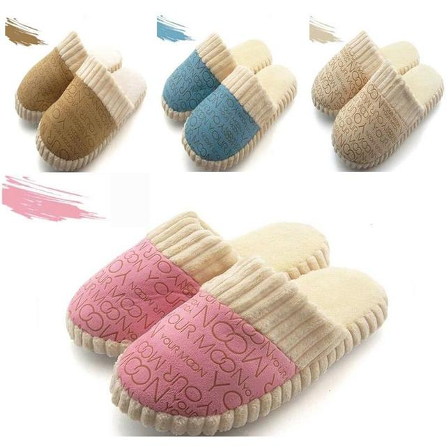2016 Autumn Winter Warm Non-Slip Slipper Men Women Cotton-padded Lovers Home Slippers Rubber Sole Sewing Indoor Soft Plush Shoes