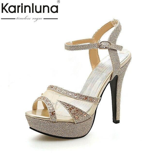 karinluna large size 33-43 thin high heels ankle strap women shoes woman  sexy platform summer party wedding bride sandals woman 9a8e76c04ea2