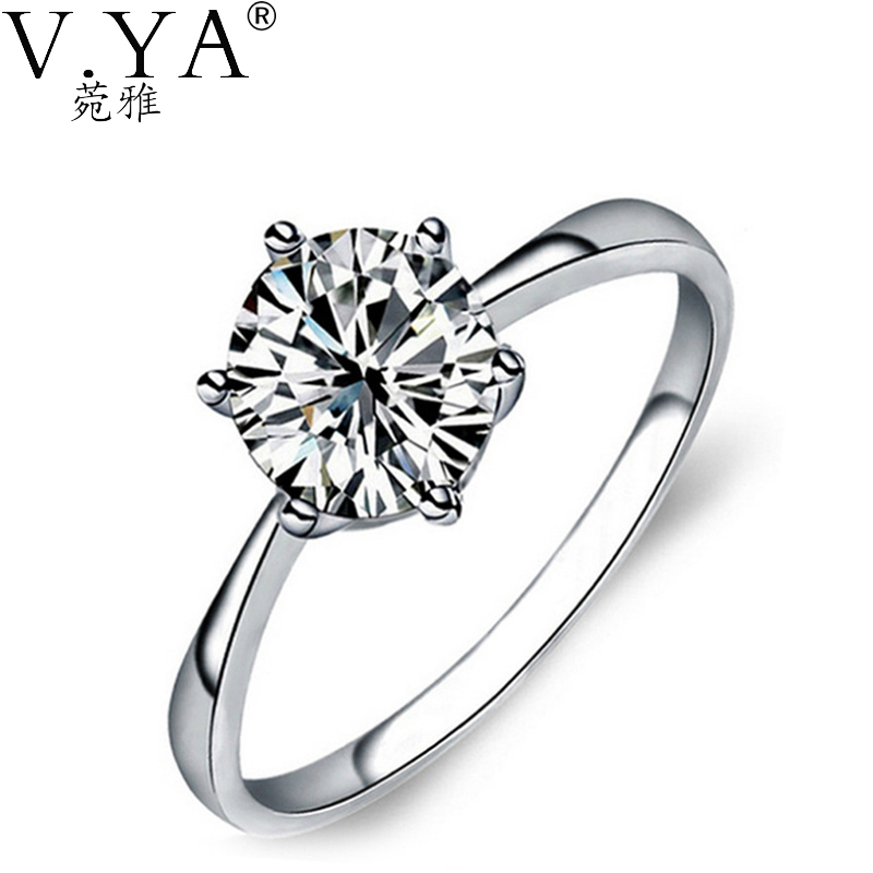 100% Pure S925 Sterling Silver Elegant Bride Wedding Ring Fine Jewelry BDR1 - VYA Official Store store