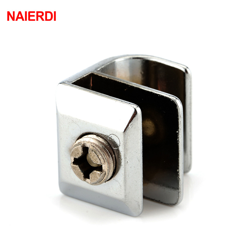 NAIERDI Glass Clamps With Handles Plane Zinc Alloy Shelves Support Corner Bracket Clips For 6mm Thick Furniture Hardware