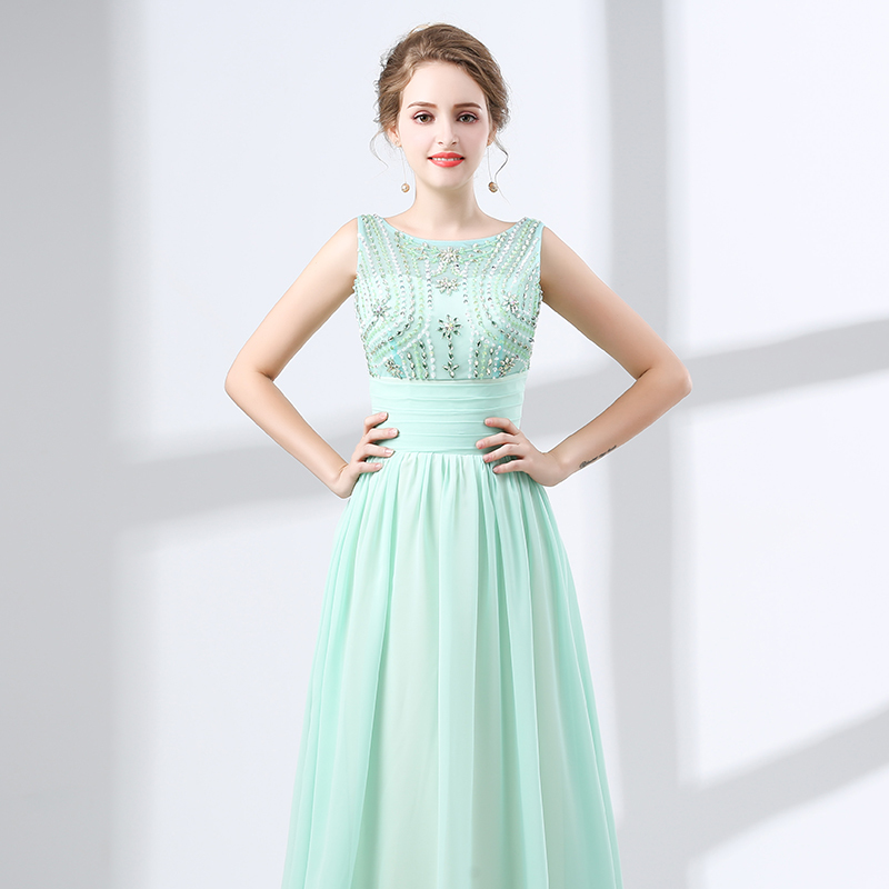 Elegant Long Evening Dress 2018 A-line Beaded Crystals Floor Length Backless Mint Green Chiffon Women Formal Evening Gowns Party