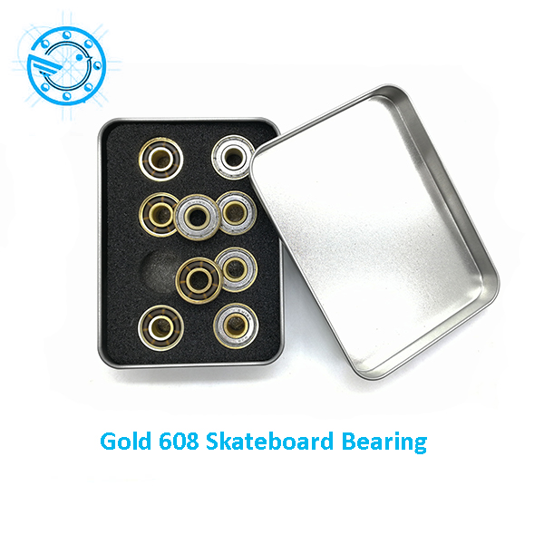 Free Shipping 16pc/set  ILQ11 Grade Gold Skateboard Bearing 608 Top Speed Skate wheel Bearing Bearing 608 free shipping skateboard bearing 16pcs lot 608rs 608 2rs 608 ilq 9 pro bearings cover rubber seals