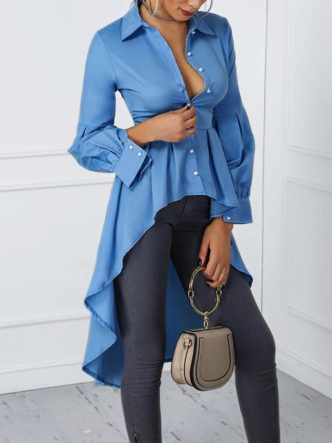 2019 Women Fashion Office Elegant Workwear Casual Shirt Ladies Top Lantern Sleeve Button Design Dip Hem Blouse