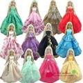 Девочка дети подарок на день рождения 30 шт. = 10 Dress + 10 обувь 10 аксессуары кукольный свадебное платье одежда платье для куклы барби