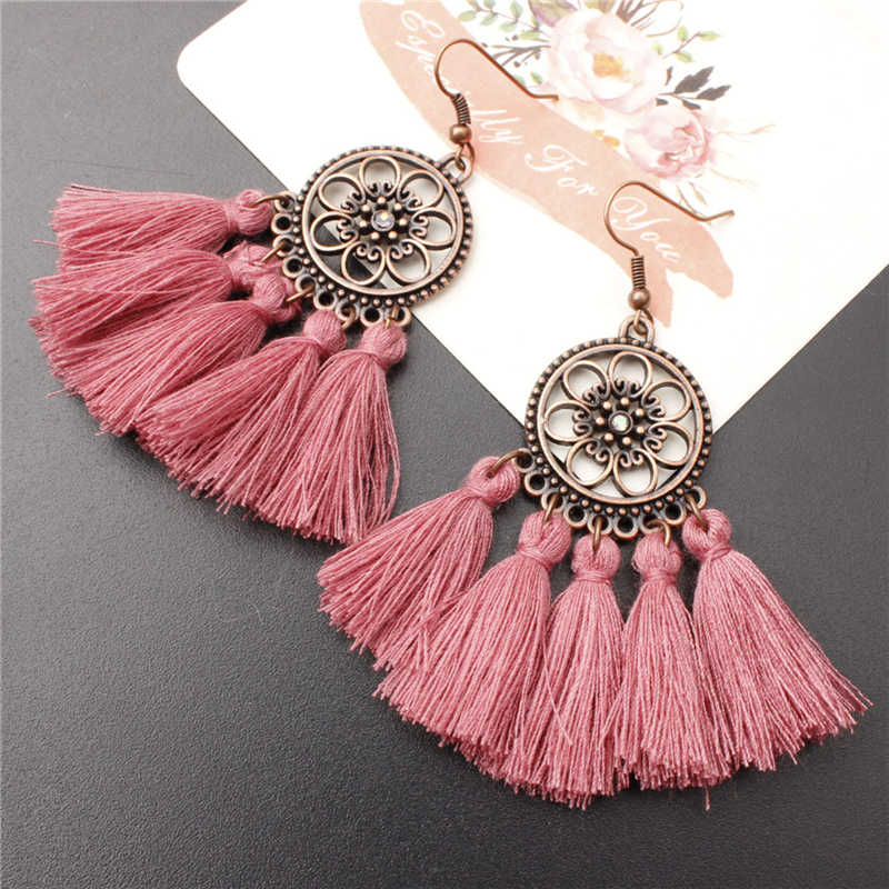 Ethnic Bohemian Drop Dangle Long Rope Fringes Retro Tassel Earrings For Women Sector Pendientes Wedding Bridal Fringed Jewelry