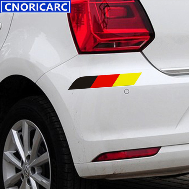 Cnoricarc tricolor flag car body decoration stickers for volkswagen vw polo golf audi kia door
