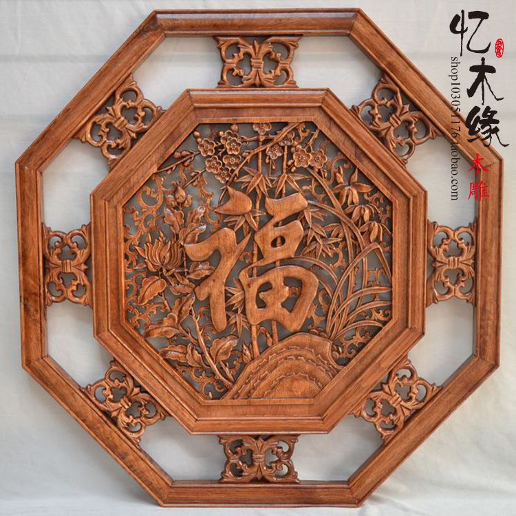 Dongyang woodcarving octagonal pendant camphor wood wood antique background wall hanging Craft Hotel Restaurant