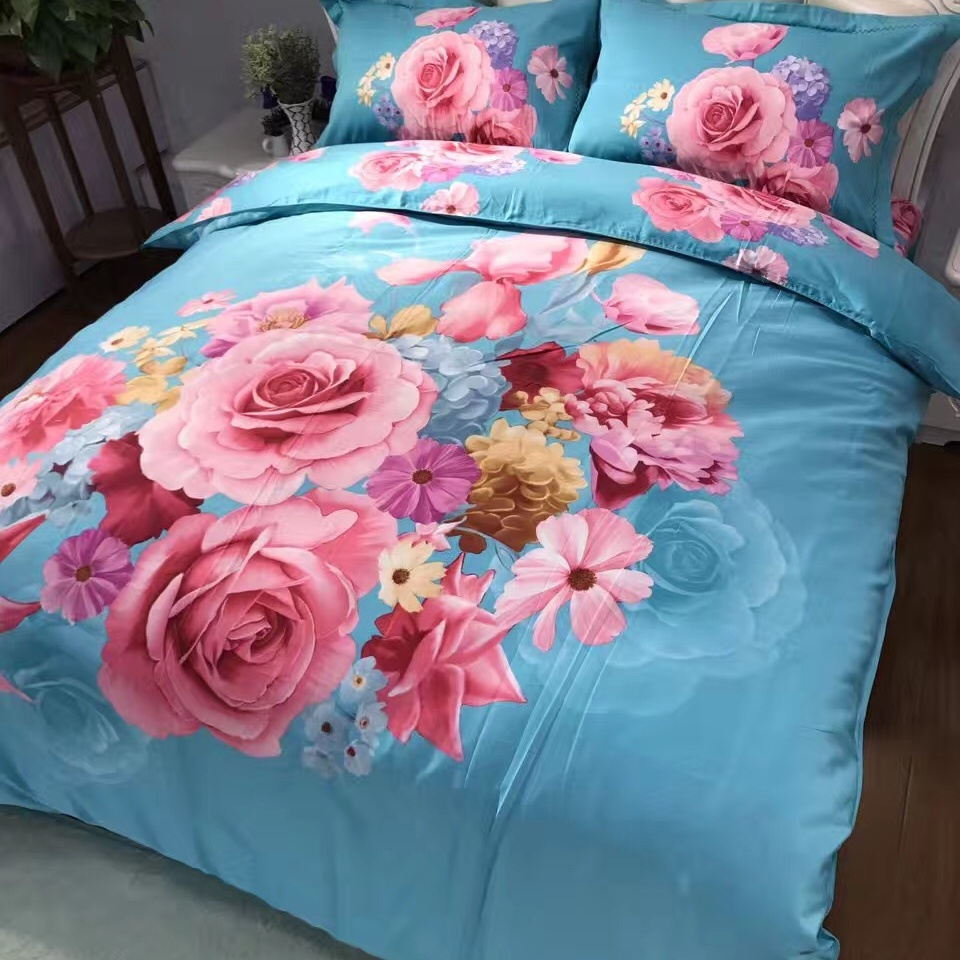 Pink Flowers Rose Daisy Lily Blue Bedding Set Queen Size Cotton Printed Quilt Cover Pillowcase Bed Sheets Family Home TextilesPink Flowers Rose Daisy Lily Blue Bedding Set Queen Size Cotton Printed Quilt Cover Pillowcase Bed Sheets Family Home Textiles