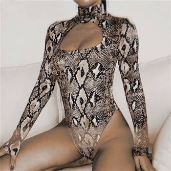 Snake print long sleeve bodysuit Women summer one-piece bodysuit sexy spring hollow out slim playsuit rompers overalls snake skin print strapless bodysuit