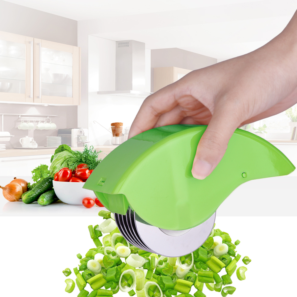 <font><b>Herb</b></font> Rolling Mincer Herbal Shallot Garlic Vegetables Manual Scallion Cutter 6 Stainless Steel Blade Slicers Kitchen <font><b>Cooking</b></font> Tool
